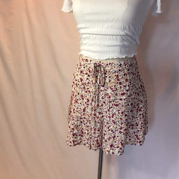 COTTON ON Pink Floral Viscose Mini Skirt, Size XS